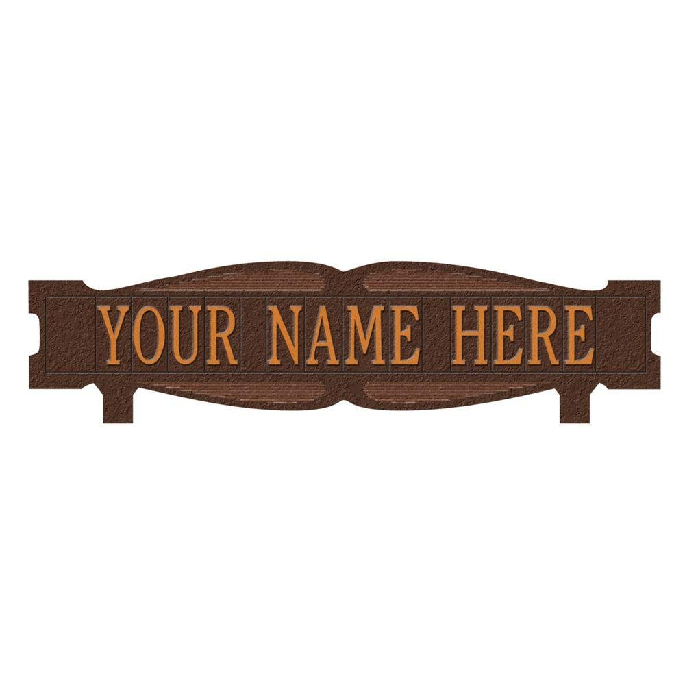 Whitehall Products Rectangular 2-Sided 1-Line Mailbox Sign without Ornament Standard - Antique Copper