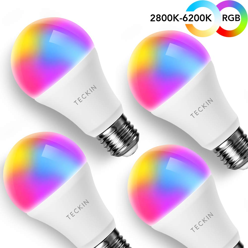 Smart LED Bulb E27 WiFi Multicolor Light Bulb Compatible with Phone, Google Home and IFTTT (No Hub Required), TECKIN A19 60W Equivalent RGB Color Changing Bulb (7.5W) (4 Pack) sleep gadgets - 61HD XQb9iL - Sleep gadgets – the best sleep gadgets, tools, and hacks