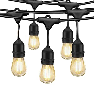 LED Outdoor String Lights, Edison Bulb String Lights, 49ft Commercial Waterproof Dimmable String Lights for Patio, 15 Hanging Sockets, 16 x 1.5W Vintage Bulbs(1 Spare)for Backyard Porch Garden