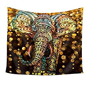 Chengsan Elephant Tapestry Three Elephant Eat Grass Wall Hanging Tapestry - Polyester Fabric Wall Art Tapestries Home Decor