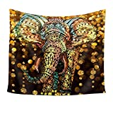 Chengsan Elephant Tapestry Aztec Gold Elephant with Gold Rain Shine Flicker Glow Jewelry Stones Light Wall Hanging Tapestry - Polyester Fabric Wall Art Tapestries Home Decor - 59'' x 51'' Inches Inches