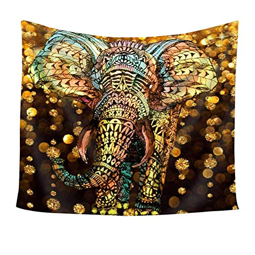 Chengsan Elephant Tapestry Aztec Gold Elephant Gold Rain Shine Flicker Glow Jewelry Stones Light Wall Hanging Tapestry - Polyester Fabric Wall Art Tapestries Home Decor - 59 x 51 Inches Inches
