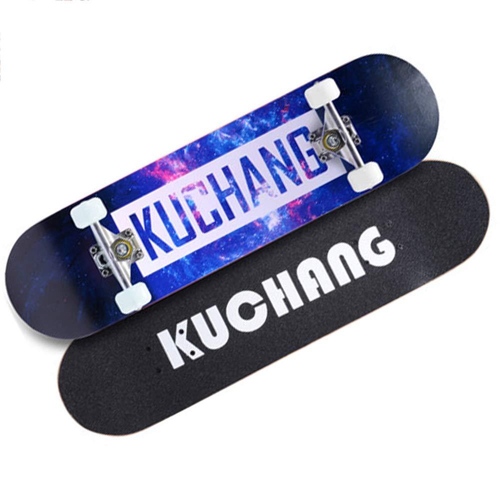 MAXINV Allrad-Skateboard-Anfänger Erwachsene Komplette Anfänger Doppel-Kick-Spitze Skateboard Maple Deck-8 Zoll Elch hjhj