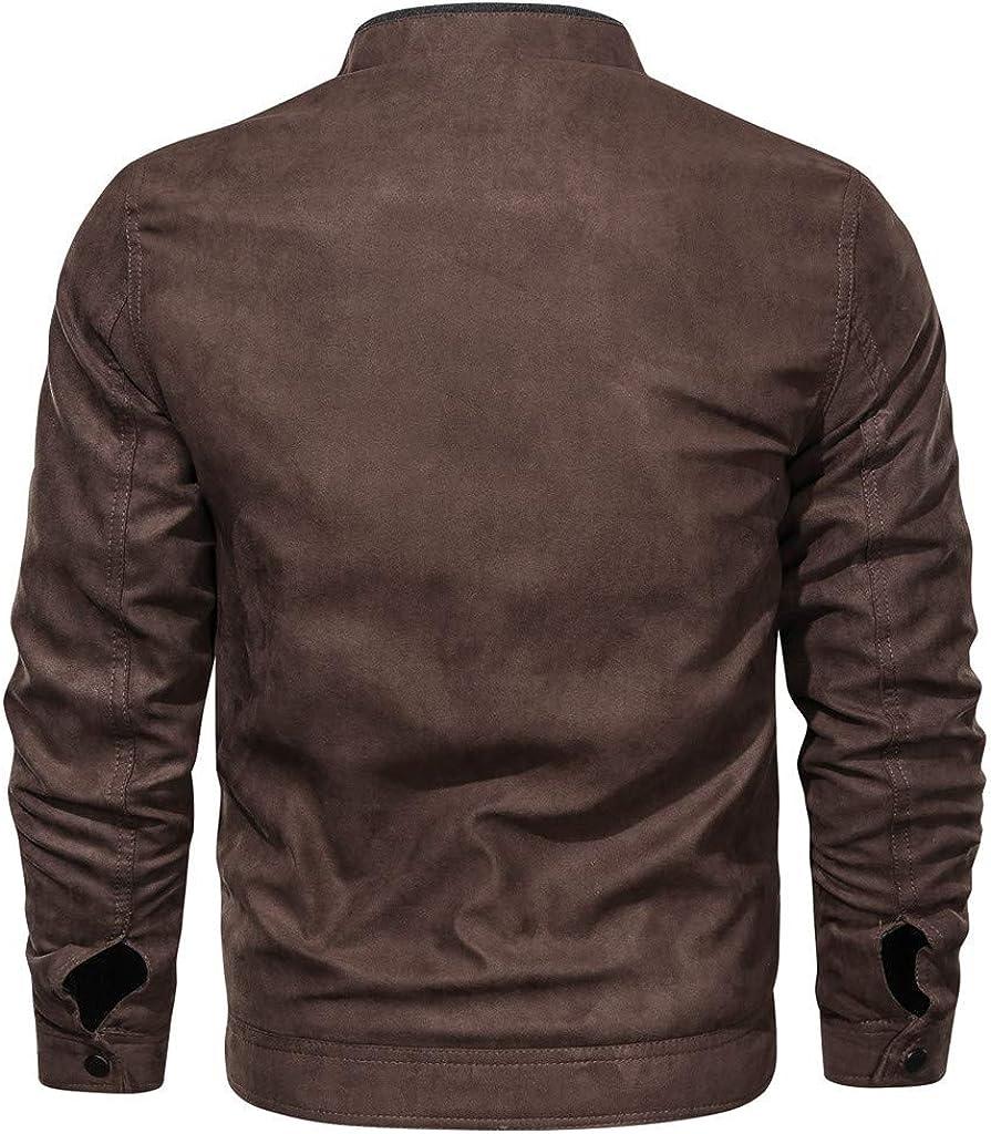 UINGKID Homme Aviateur Moto Blousons Retro PU Cuir Amovible Manteau Bomber Biker Veste Vintage Faux Leather Jacket Outwear pour Automne Hiver