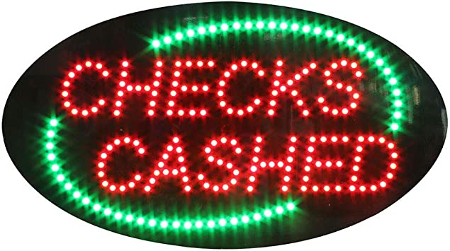 LED Checks Cashed Sign Checks Cashed Super Bright Electric Advertising Display Board for Check Cashing Service Business Shop Store Window Decor