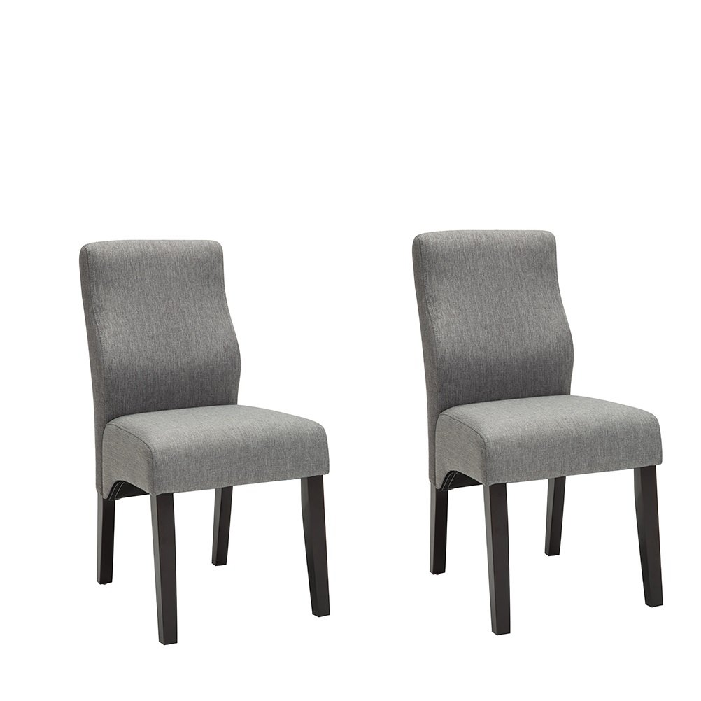 YongQiang Dining Chairs Set of 2 Upholstered Parson Living Room Kitchen Chairs with Solid Wood Legs Grey