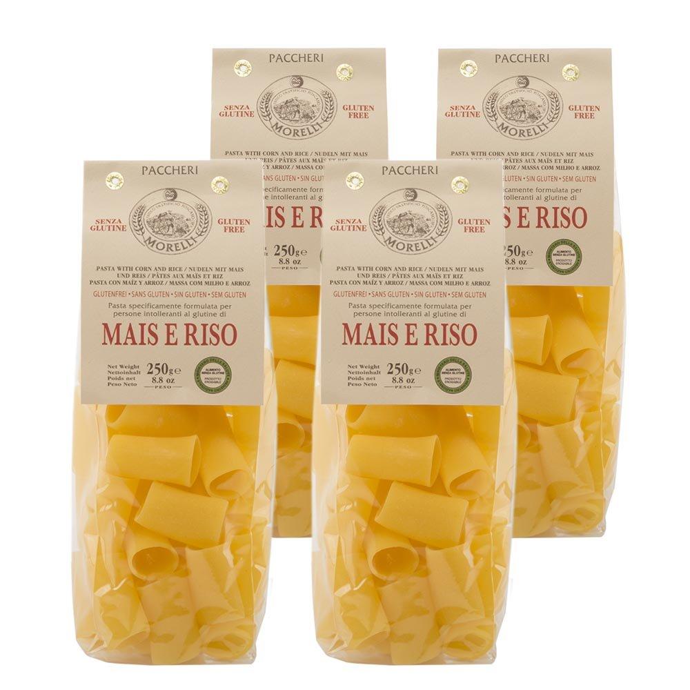 Morelli Italian Gluten Free Paccheri Pasta made from Corn & Rice - Pasta Di Mais E Riso - 8.8 oz (pack of 4) by MORELLI