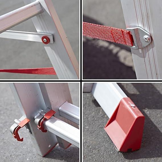 Trueshopping escalera extensible aluminio TRADE EN131 de sección TRIPLE 6,73 m 10 1010 escalones estable ANTI-SLIP de seguridad ligero: Amazon.es: Bricolaje y herramientas