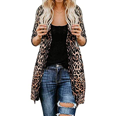 Women Lightweight Cardigan Leopard Printed Button Down Cardigans Shirt at Amazon Women's Clothing store