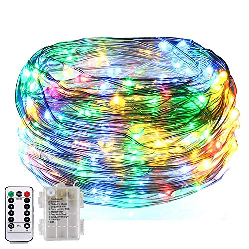 8 Flashing Modes,BOLWEO Battery Operated Fairy Christmas String Lights with Remote Timer, 5M/16.4Ft 50LEDs Dimmable Fairy Lights for Indoor Outdoor Home Christmas Tree Wreath Decoration,Multi-Colored]()