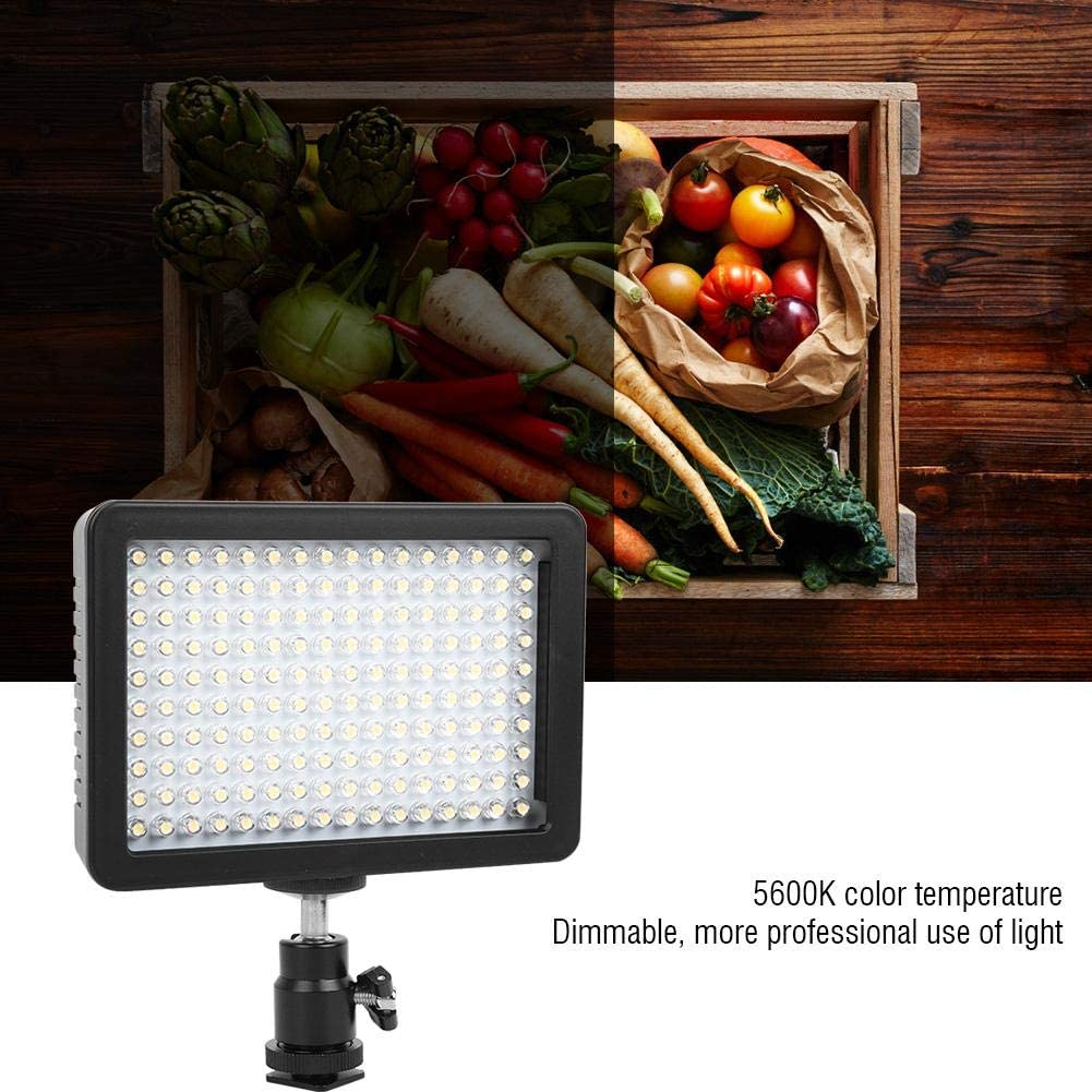 Video Fill Light W160 Dimmable 5600K Color Temperature LED Camera Video Fill Light,with Soft Light Filter,Yellow Filter and Purple Filter
