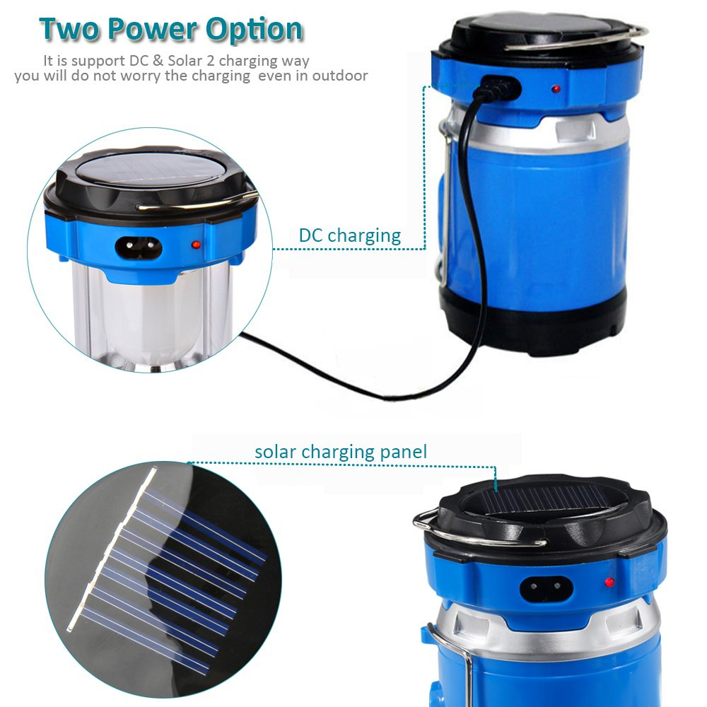 Camping Lantern Light, IRuiYinGo Rechargeable Lamp Solar LED Flashlight with Hanging Blue Color, Great light for Camping/ Hiking/ Backpacking...Outdoor Activities by IRuiYinGo (Image #4)