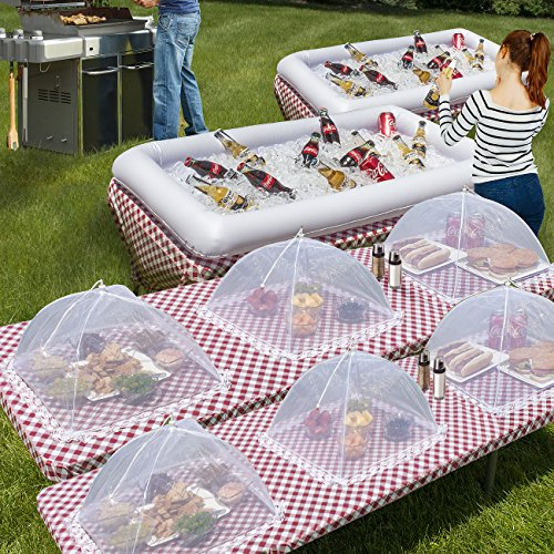 Sorbus Inflatable Serving Bar & food umbrella mesh cover Screen Tent set for Food and Beverages, Perfect for BBQ, Picnic…