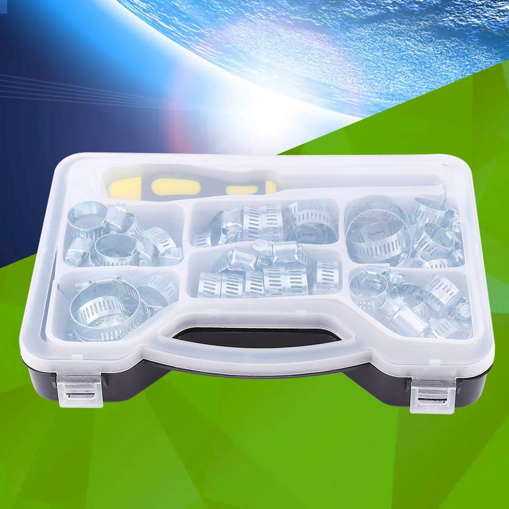 abrazaderas para tubo de combustible 51 unidades con llave hexagonal en un malet/ín de transporte Abrazaderas para manguera acero al carbono