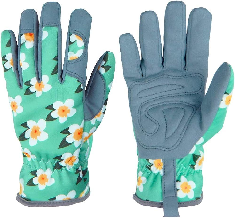 Gardening Gloves for Women, Garden Work Gloves with Deerskin Suede Leather, Thorn proof, Medium Size Gloves