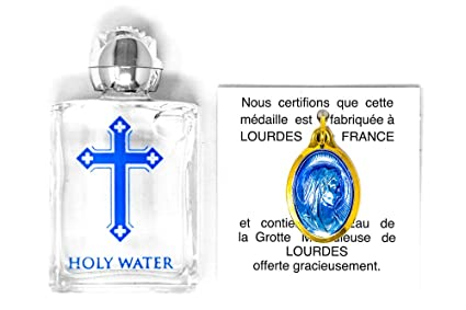 Lourdes de agua bendita colgante dorado + botella de Lourdes agua bendita