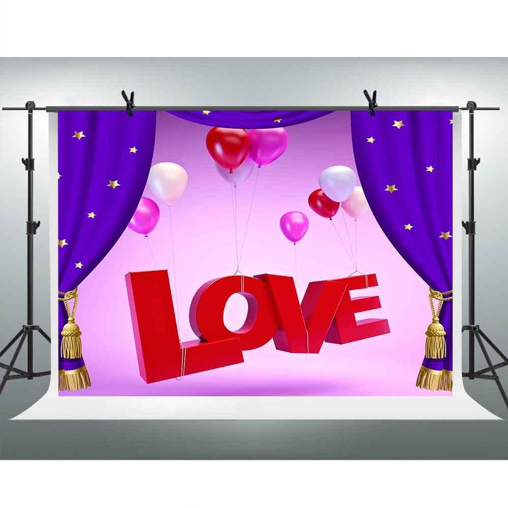 FH 7×5フィート ピンク背景 ブルー クレジットカラフル バルーン ラブ 背景 テーマ パーティー YouTube背景幕 写真ブース スタジオ小道具 XCFH109   B07D4CZSCW