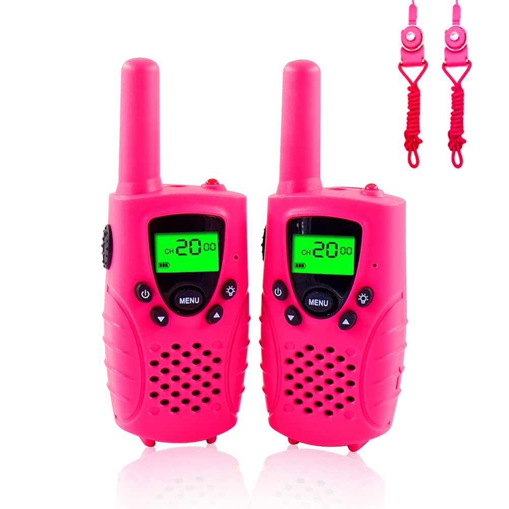 Walkie Talkies for Kids, FAYOGOO 22-Channel FRS/GMRS Radio, 4-Mile Range Two Way Radios for Kids with Flashlight and LCD Scree (Cute Pink)