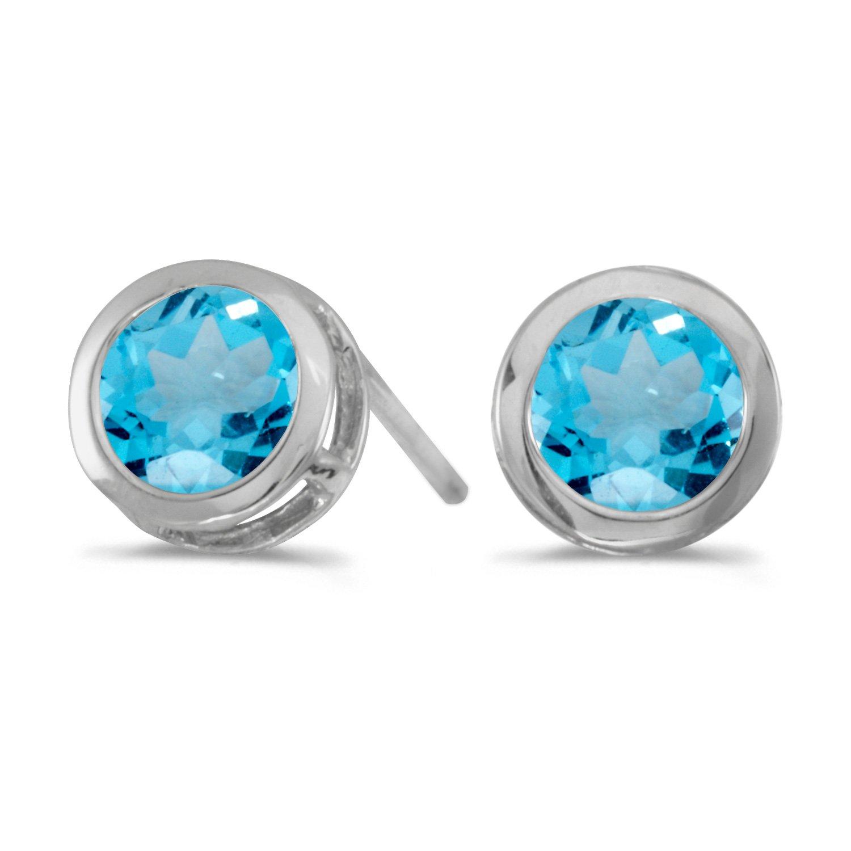 5 mm Natural Round Blue Topaz Stud Earrings Set in 14k White Gold