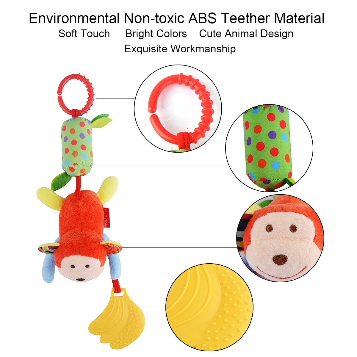 Soft Hanging Crinkle Squeaky Sensory Educational Toy Infant Newborn Stroller Car Seat Crib Travel Activity Plush Animal Wind Chime with Teether for Boys Girls HAHA Baby Toys for 0 3 6 to 12 Months