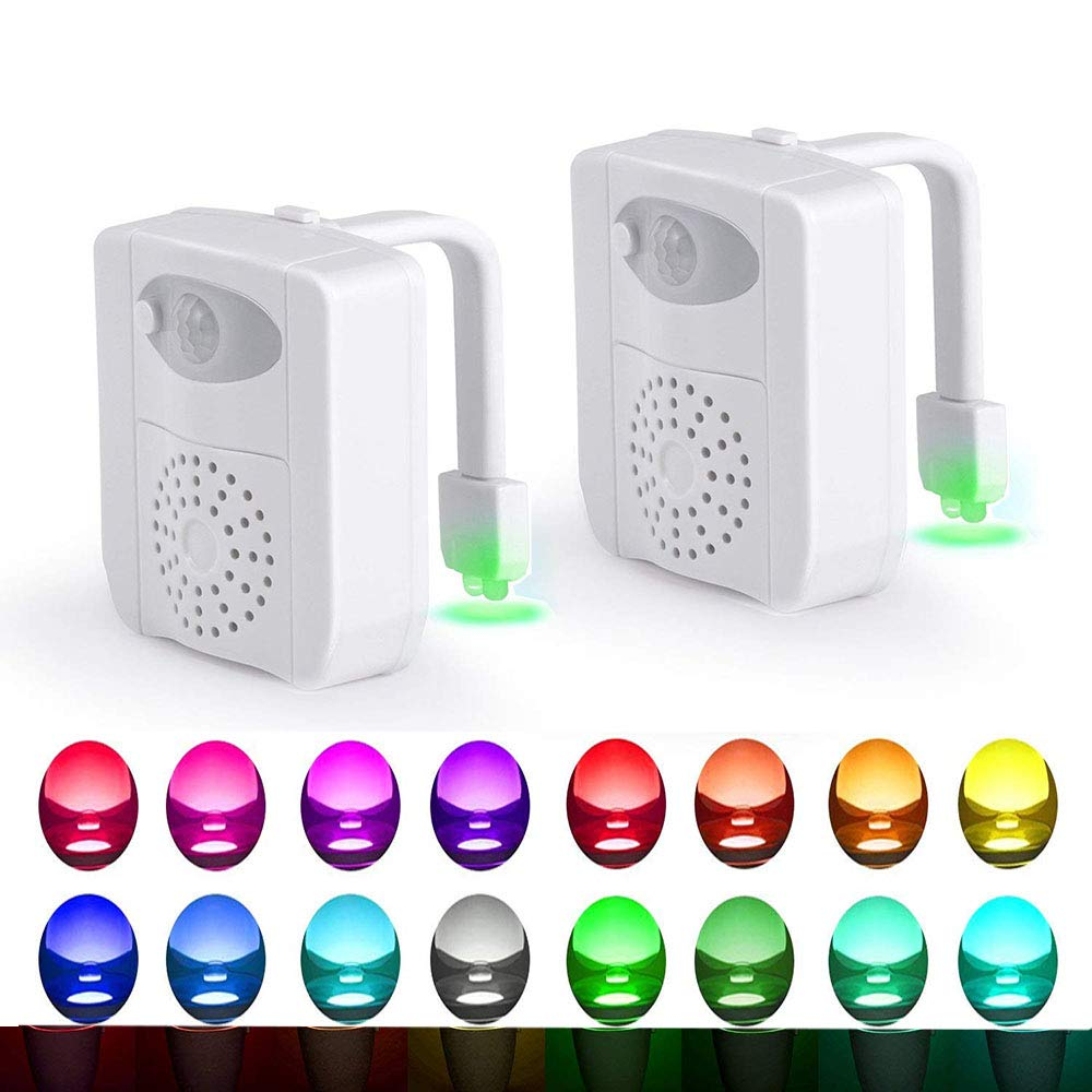 2-Pack Komire LED Toilet Night Light, Motion Activated 16 Colors Waterproof Inside Toilet Bowl Nightlight, Light Detection Sensor Shark Tank Seat Lamp Fixtures w/Aromatherapy Fit for Any Toilet
