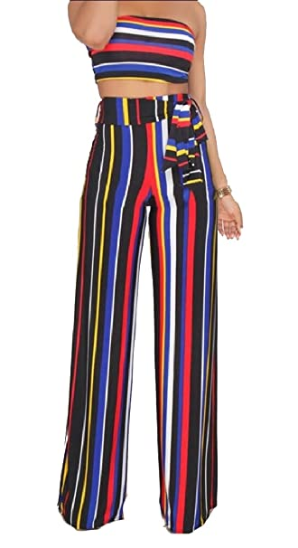 dc841fbf37c Jaycargogo Women s Rainbow Print Stripes Crop Top + Wide Leg Pants 2 Piece  Outfits at Amazon Women s Clothing store