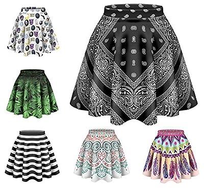kukubird New Summer Various Emoji Colourful Pattern Print Skater Skirts