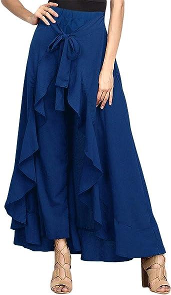 Uranus Mujer Pantalones Volantes Falda Larga con Cintura Alta Y ...