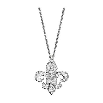 a4082a337faaa Amazon.com: Small Diamond Fleur De Lis Pendant Chain in 14K White ...