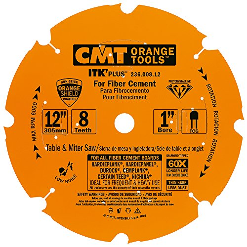CMT 236.008.12 ITK PLUS Diamond Saw Blade for Fiber Cement Products, 12-Inch x 8 Trapezoidal Teeth with 1-Inch Bore, PTFE Coating ()