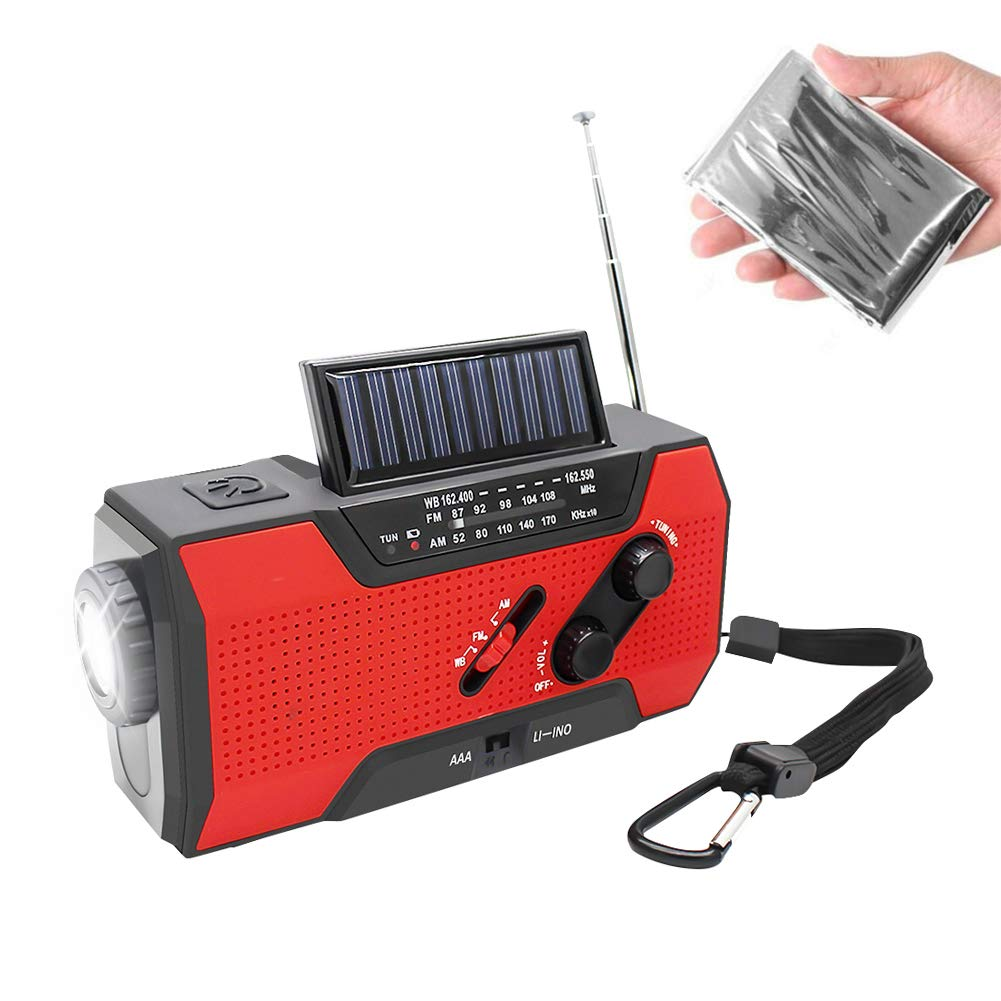 NOAA Weather Radio Hand Crank Solar AM FM 2000mAh Power Bank Emergency Weather Alert LED Flashlight Reading Lamp SOS Alarm with Emergency Blanket (RED)