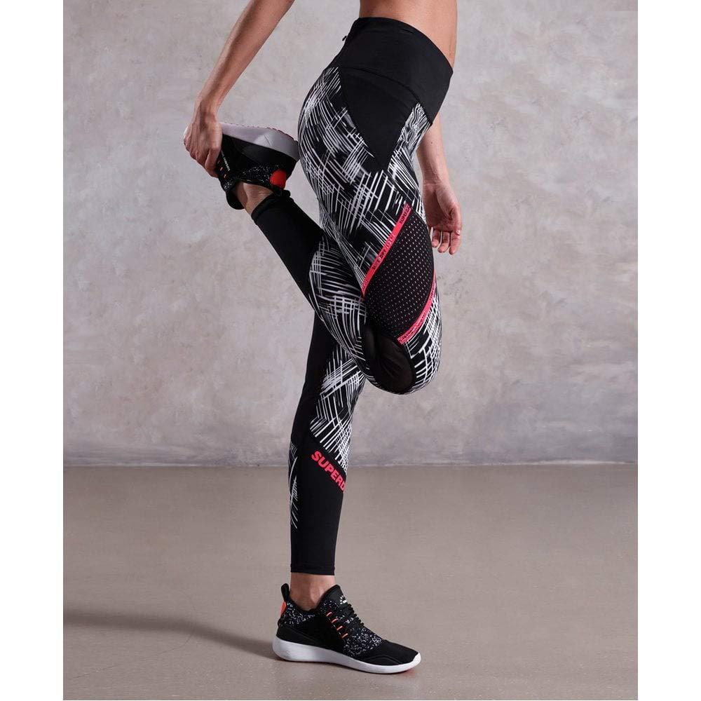 e45e9c7b296ef9 SUPERDRY Superdry Womens Active Mesh Panel Leggings Motion Lines Mono Print  12: Amazon.co.uk: Clothing