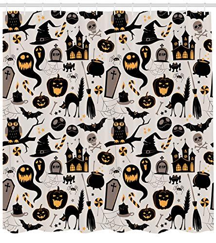 (Ambesonne Vintage Halloween Shower Curtain, Halloween Cartoon Jack o Lantern Tombstone Skulls and Bones, Fabric Bathroom Decor Set with Hooks, 70 inches, Light Grey)