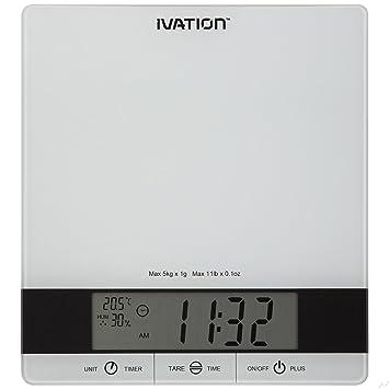 Báscula de cocina digital con temporizador, reloj y niveles de temperatura y RH – proporciona