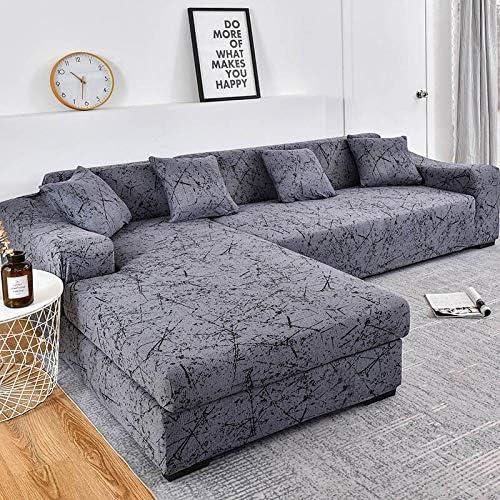 ASCV Fundas de sofá Chaise Longue para Sala de Estar Fundas elásticas para sofá Fundas elásticas de Esquina en Forma de L Funda de sofá A8 4 plazas