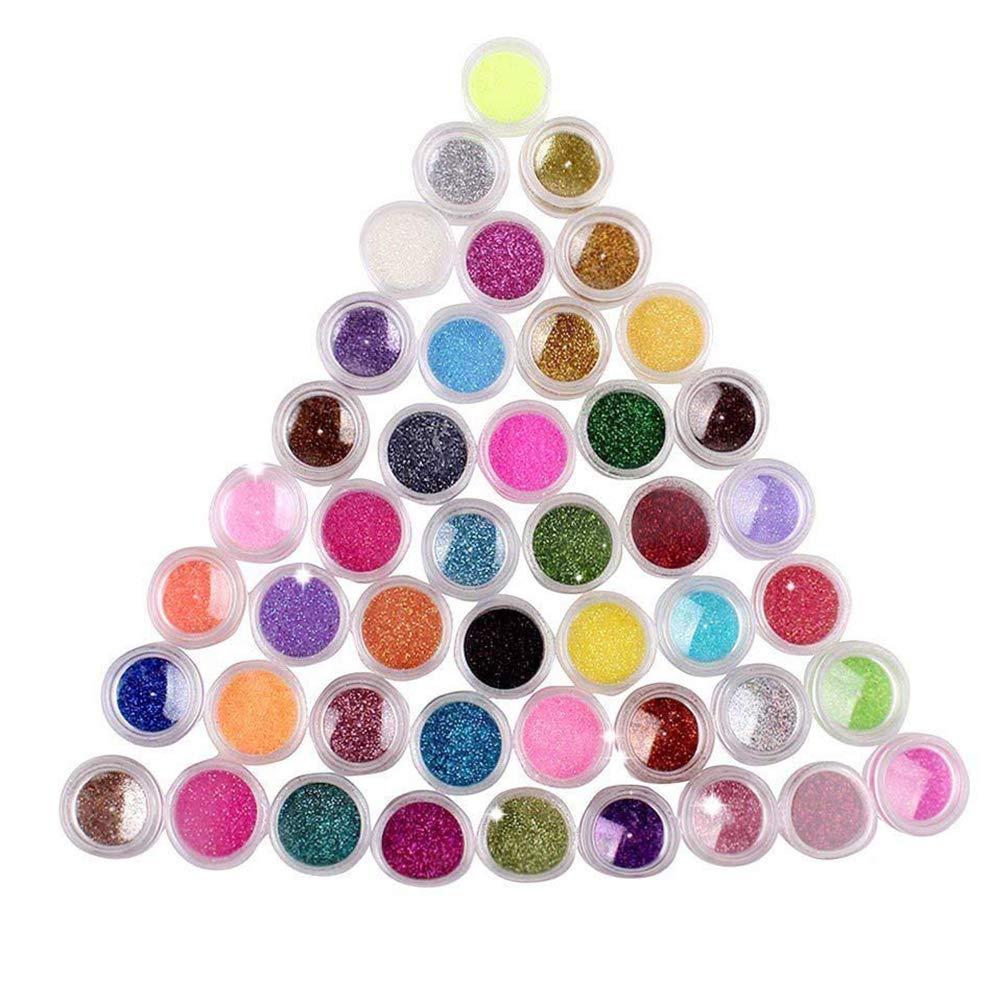 NiceButy 45 colores de sombra de ojos/de uñas de arte pigmento del brillo del polvo del polvo del brillo UV Conjunto del constructor del gel de acrílico del clavo decoración del arte