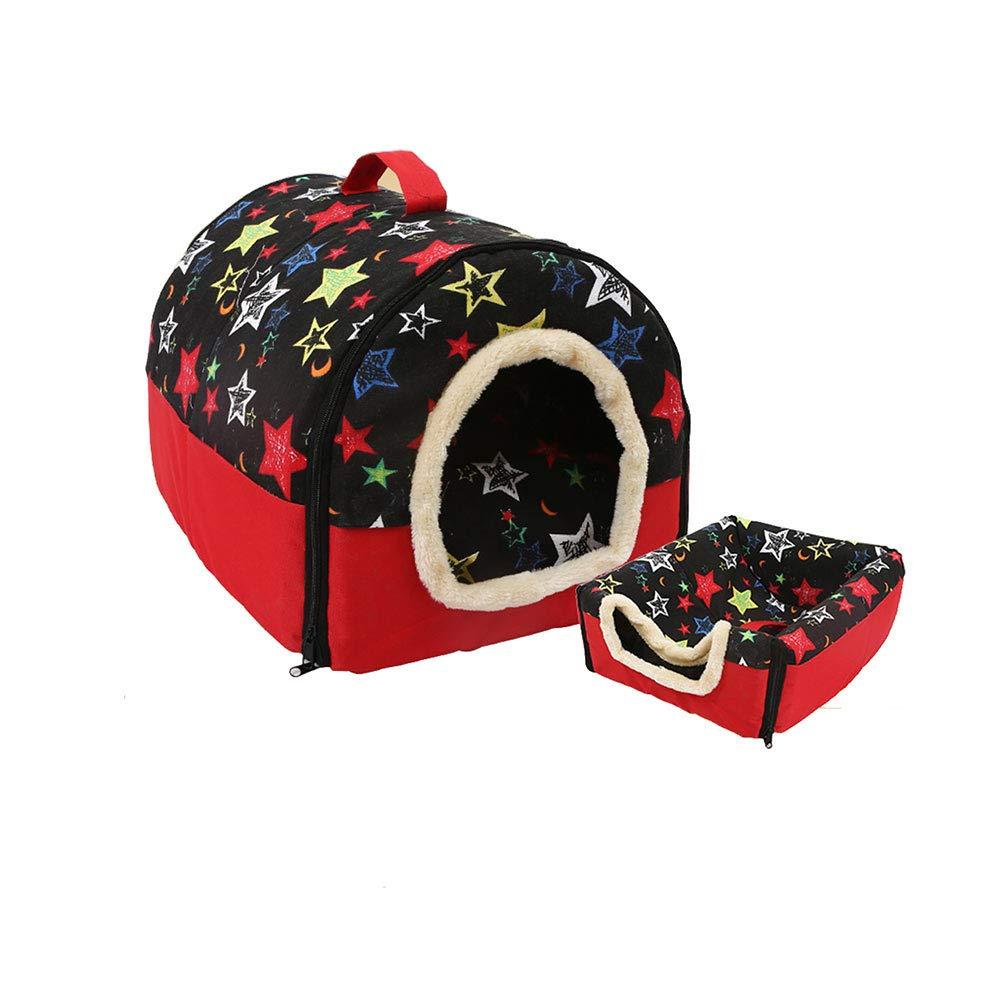 Black Pet Dog Cat Bed House Warm Soft Kennel Removable Pet House (Black)