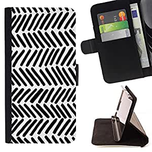 Momo Phone Case / Flip Funda de Cuero Case Cover - Patrón Nativo Arte Negro White Stripes Wallpaper - Apple Iphone 5C