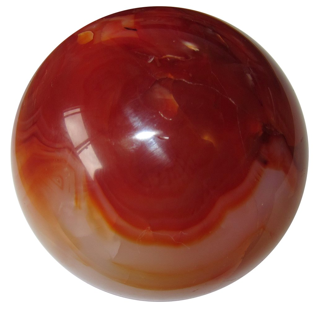 Satin Crystals Carnelian Ball 2.8 Collectible Shiny Orange Red Swirl Birds Nest Crystal Psychic Attack Protector Sphere C65