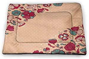 prunushome Dog Beds Crate Pad Mat Dragonfly Pet Playing Resting Bed Pink Backdrop Image with Bohemic Flowers Leaves Flying Birds Like Bugs for Pets Sleeping Multicolor