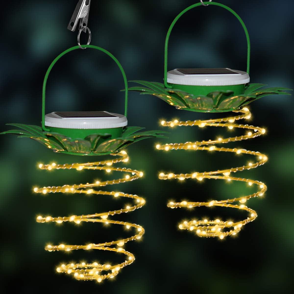 2 Pack Pineapple Solar Hanging Lights 60 LED Waterproof Fairy String Light for Outdoor Garden Patio Decor Lantern Warm White