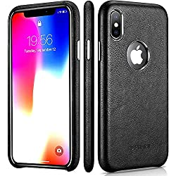 iPhone X Leather Case – Premium Leather iPhone X Case – Best Mobile Cell Phone Cases Protective Back Cover - Slim Fit PU Leather Case for Apple iPhone x 10 Ten - Black