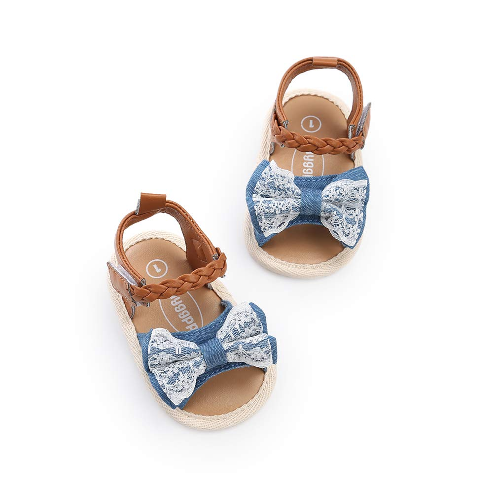 Baby Girls Summer Sandals Bow-Knot Anti-Slip Sole Infant First Walker Toddler Princess Shoes