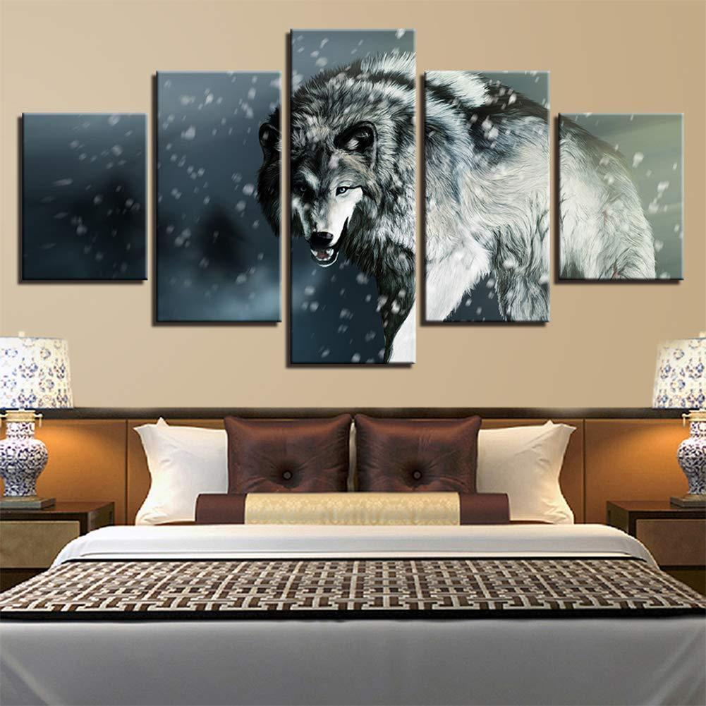 Bild Auf Leinwand Bilder 5 Teile Schnee Wolf Am Flussufer Wald Wandbilder Wohnzimmer Wohnung Deko Kunstdrucke Fertig Zum Aufhängen,Woodenframed+A,150X80cm