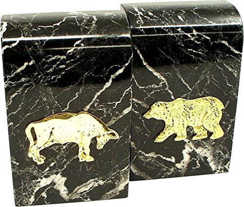 Stock Market Bookends - Black Marble with Green Tones Black Marble Stock Market