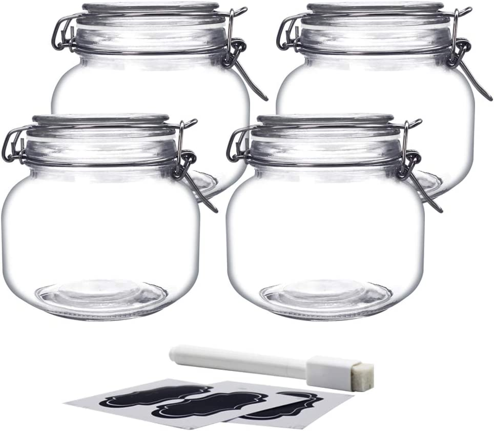 YEBODA 24oz Food Storage Canister Glass Jars with Clamp Airtight Lids and Silicone Gaskets for Multi-Purpose Kitchen Containers - Clear Square (4 Pack)