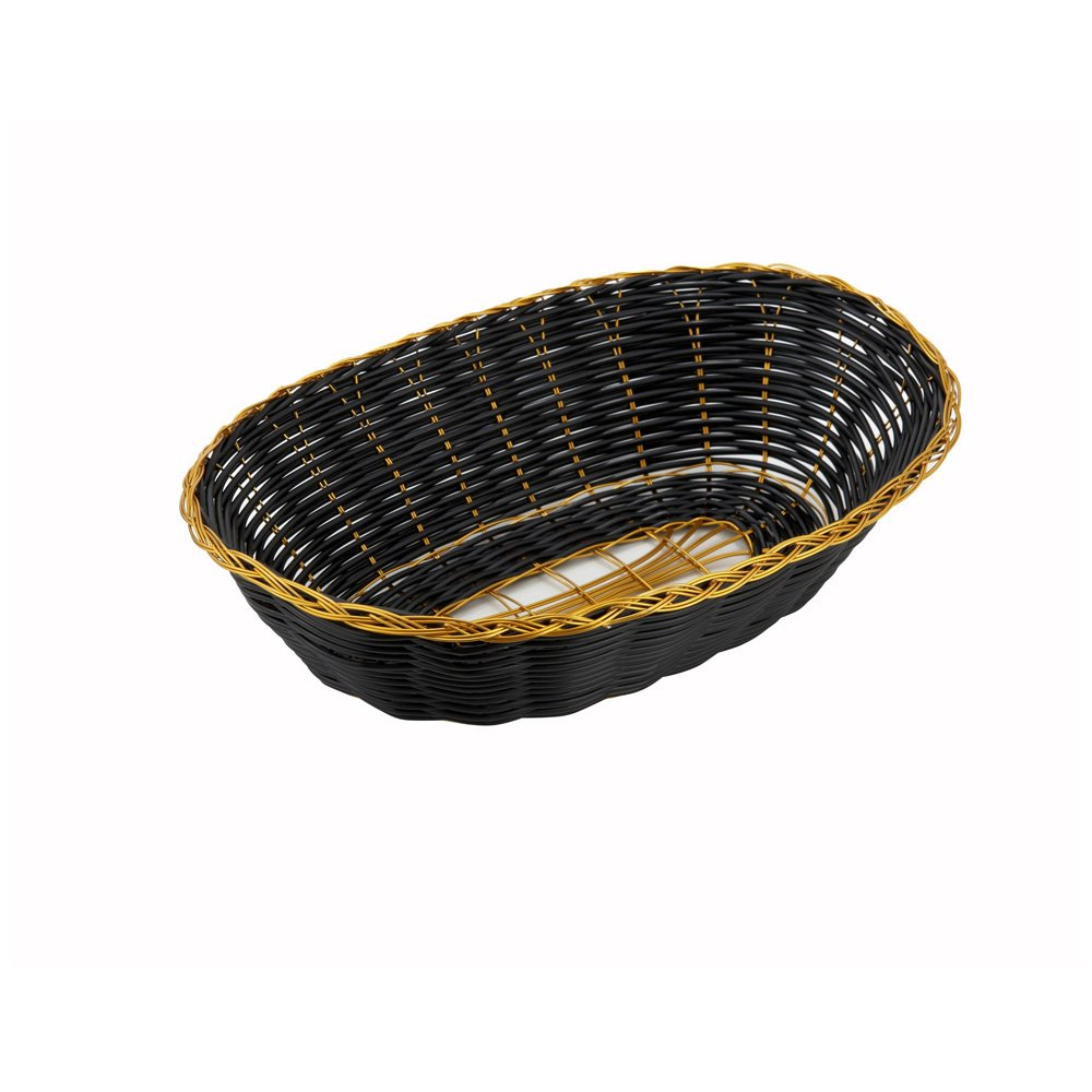 Winco PWBK-9V, 9'' x 7'' x 2-3/4'' Black Oval Poly Woven Basket With Gold Trim, Tabletop Serving Bread Snacks Basket, 1-Piece Pack