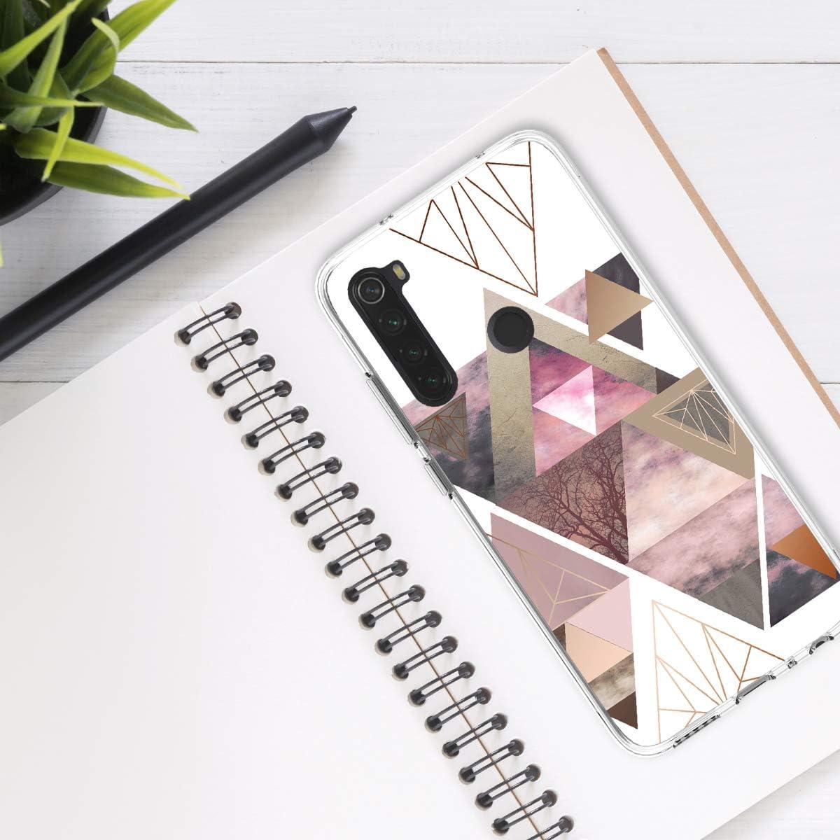 Carcasa de TPU y tri/ángulos en Rosa Claro//Oro Rosa//Blanco kwmobile Funda Compatible con Xiaomi Redmi Note 8T