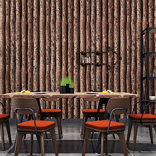 Wallpaper 3D Imitation Wood Bark Trunk Roundwood Log Tree Pattern Cafe Bar Restaurant Background Wallpaper (Width 0.53M Length 10M) (Color : A)