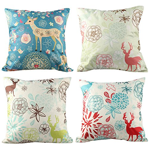 Coogam 18 Winter Christmas Pillow Case Set of 4 Cotton Linen Burlap Square Throw Pillow Cover for Sofa Bench Couch Car Seat Bed Stamp Pillow Protectors Elk Pillowcase 18 x 18 Holiday Xmas Decoration